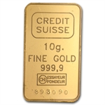 10 gram Credit Suisse Gold Bar .9999 Fine (In Assay)