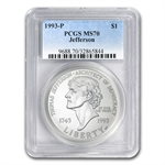 1993-P Jefferson 250th Anniversary $1 Silver Commem - MS-70 PCGS