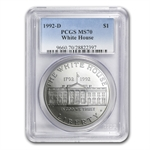 1992-D White House $1 Silver Commemorative - MS-70 PCGS
