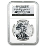 3-Coin Tri Metal Reverse Proof American Eagle Ann Set PF-70 NGC