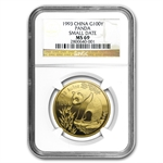 1993 1 oz Gold Chinese Panda MS-69 NGC - Small Date