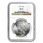 1922-1925 Peace Silver Dollars - MS-66 NGC