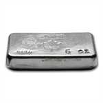 5 oz Johnson Matthey Silver Bar (Poured, Maple Leaf) .999 Fine