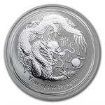2012 1 oz Silver Australian Lunar Year of the Dragon Coin