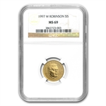 1997-W Jackie Robinson - $5 Gold Commemorative - MS-69 NGC