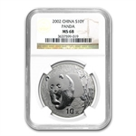 2002 Silver Chinese Panda 1 oz - MS-68 NGC