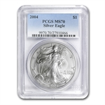2004 Silver American Eagle - MS-70 PCGS - Registry Set Coin