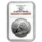 1990 1 oz Silver Chinese Panda - MS-67 NGC - Large Date