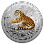 2010 5 oz Colorized Silver Australian Year of the Tiger (SII)