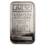 1 oz Johnson Matthey Silver Bar (Plain Back) .999 Fine