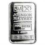 1 gram Johnson Matthey Silver Bar .999 Fine