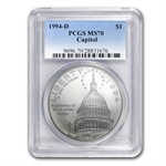 1994-D Capitol $1 Silver Commemorative - MS-70 PCGS
