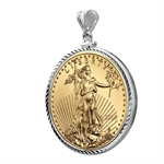 2014 1/4 oz Gold Eagle White Gold Pendant (DiamondScrewTop Bezel)