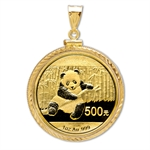 2013 1 oz Gold Panda Pendant (Diamond-ScrewTop Bezel)