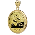 2014 1/4 oz Gold Panda Pendant (Diamond-Prong Bezel)