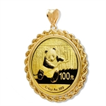 2014 1/4 oz Gold Panda Pendant (Rope-Prong Bezel)