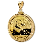 2013 1/10 oz Gold Panda Pendant (Diamond-ScrewTop Bezel)