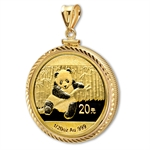 2014 1/20 oz Gold Panda Pendant (Diamond-ScrewTop Bezel)