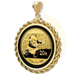 2014 1/20 oz Gold Panda Pendant (Onyx Rope-ScrewTop Bezel)