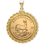 2013 1 oz Gold Krugerrand Pendant (Rope-ScrewTop Bezel)