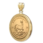 2013 1 oz Gold Krugerrand Pendant (Diamond-Prong Bezel)