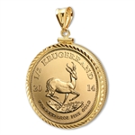 2014 1/2 oz Gold Krugerrand Pendant (Diamond-ScrewTop Bezel)