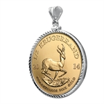 2014 1/2 oz Gold Krugerrand White Gold Pendant (Diamond-Bezel)