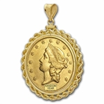 $20 Liberty Gold Double Eagle Pendant (Rope-ScrewTop Bezel)