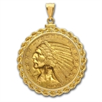 $5 Indian Gold Half Eagle Pendant (Rope-ScrewTop Bezel)