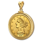 $2.50 Liberty Quarter Eagle Pendant (Diamond-ScrewTop Bezel)