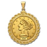 $2.50 Liberty Gold Quarter Eagle Pendant (Rope-ScrewTop Bezel)