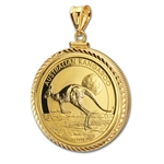 2013 1 oz Gold Kangaroo Pendant (Diamond-ScrewTop Bezel)