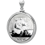 2013 1 oz Silver Panda Pendant (Diamond-ScrewTop Bezel)
