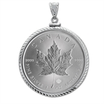 2013 1 oz Silver Maple Leaf Pendant (Diamond-ScrewTop Bezel)