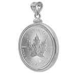 2014 1 oz Silver Maple Leaf Pendant (Plain Front Bezel)