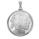 1 oz Silver Buffalo Round Pendant (Diamond-ScrewTop Bezel)