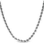 Diamond Cut Rope 14k White Gold Necklace - 16 in.