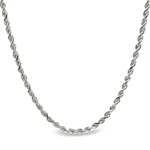 Diamond Cut Rope 14k White Gold Necklace - 20 in.
