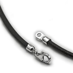 Black Leather Necklace - 18 in.