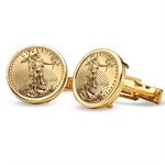 2014 1/10-oz Gold Eagle Cuff Links (Polished Plain)