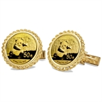 2013 1/10 oz Gold Panda Cuff Links (Polished Rope)