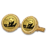2013 1/20 oz Gold Panda Cuff Links (Polished Rope)