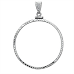 14K White Gold Screw-Top Diamond-Cut Coin Bezel - 16.5 mm