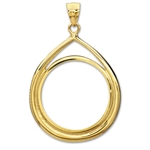 14K Gold Prong Tear Drop Coin Bezel - 22 mm