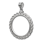 Sterling Silver Screw Top Rope Polished Coin Bezel - 40.6mm