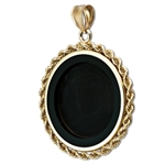 14K Gold Onyx Rope Polished Bezel - 22 mm