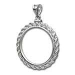 Sterling Silver Screw Top Rope Polished Coin Bezel - 39.4mm