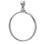 14K White Gold Screw-Top Diamond-Cut Coin Bezel - 32.7 mm