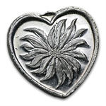 1/2 oz Silver Heart - Poinsettia - .999 Fine