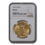 1910-S $20 St. Gaudens Gold Double Eagle - MS-64 NGC